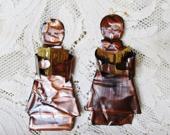 Vintage 1975 Arts And Crafts Copper Choir Boys, Christmas Ornament