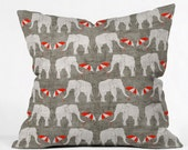 Elephant and Umbrella Throw Pillow