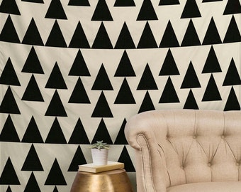 Triangles Black Tapestry