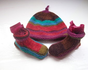 Wool baby hat booties fun set small first size or premature baby