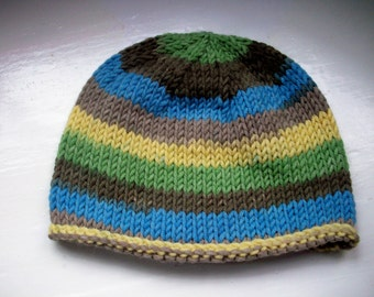 Unisex beanie hat wool rich yarn hand knitted Classic design Contemporary colours  - blue, grey, yellow, green