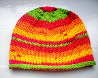 Unisex beanie hat wool rich yarn hand knitted Classic design Contemporary colours  - pink, orange, yellow, green