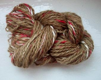 Handspun yarn, hand dyed yarn, natural dyed, art yarn, Wensleydale, wool, silk, walnut by SpinningStreak