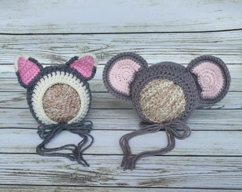 Mouse and Cat Bonnet Set - baby Bonnet - Baby animal hat - newborn photo prop - crochet baby outfit - character hat - Twin Animal Set