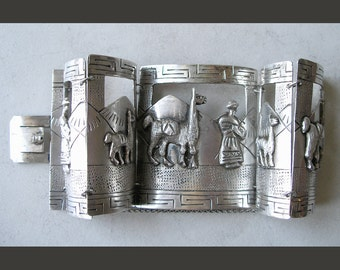 Peruvian Panel Bracelet- Sterling Silver Vintage Ethnic Jewelry- Peruvian Story Bracelet With People and Llamas