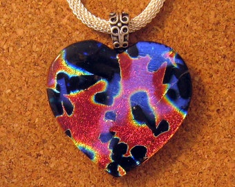 Dichroic Heart Pendant - Fused Glass Pendant - Valentine Pendant - Heart Jewelry - Dichroic Jewelry - Dichroic Necklace - Fused Glass Heart