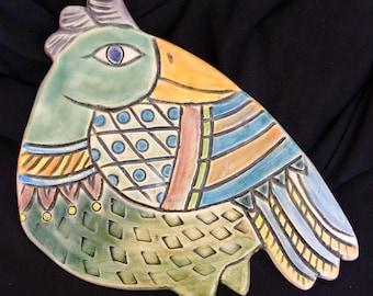 Ceramic Bird wall hanging for home or garden