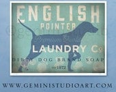 English Pointer laundry company laundry room artwork giclee archival signed artists print