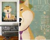 Shiba Inu dog Jazz Bar graphic illustration on gallery wrapped canvas by Stephen Fowler