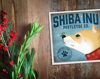 Shiba Inu dog Mistletoe Company graphic artwork  giclee archival signed artist's print by Stephen Fowler Pick A Size