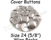 50 Cover Buttons / Fabric Covered Buttons - Size 24 (5/8 inch - 15mm) - Wire Backs - SEE COUPON