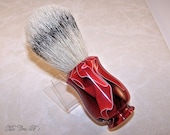 Shaving Brush Silvertip / Silver Tip Badger Hair with  22mm x 58mm Knot in Ruby Water Acrylic