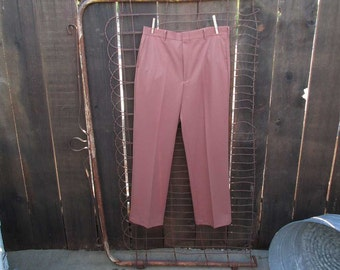 Terracotta polyester pants 70s vintage basic slacks pale 70s rusty peach color 35 29 Halloween Costume