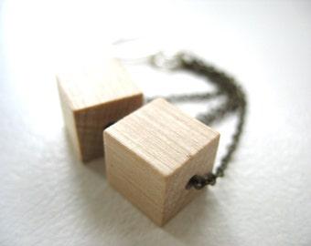 Wood Earrings, Maple Wood Earrings, Blond Maple Wood Dangle Drop Earrings, Handmade Wood Jewelry, Chandelier Earrings, Wood Jewelry