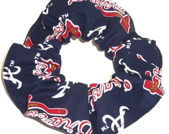 Atlanta Braves Hair Scrunchie MLB Baseball Fabric Scrunchies by Sherry Ponytail Holders Ties