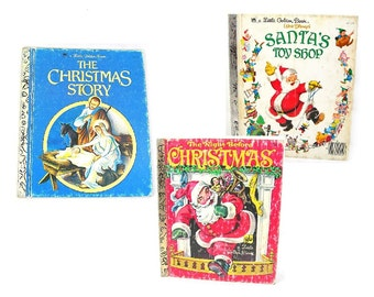 Little Golden Book Lot of 3 Vintage Christmas Books, Childrens Story Books, The Christmas Story, Santa's Toy Shop, Night before Christmas