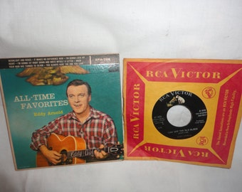 Lot of 2 Eddie Arnold 45 RPM RCA Victor Picture Sleeve 1956 Chet Atkins Producer Vintage Vinyl