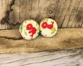 Little Red Bird Fabric Earrings~Tiny Cardinal Posts~Gift for Bird Lover~Present for a Friend~Pierced earrings