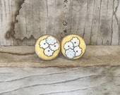 Yellow Daisy Fabric Earrings~Dainty Fashionable Jewelry~White daisy fabric Accessory~Yellow Button Earrings~Gift For Her