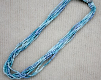 Crochet Cotton Chain Necklace, Crochet Jewelry, Fiber Necklace, Gift for Her, Everyday Jewelry in Light Blue n' Aqua Color Mix