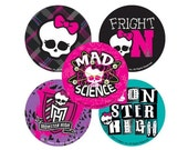 """5 Monster High Stickers 2.5"""" Round Mods mad science skull with bow"""