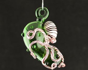 Octopus Christmas Pickle Glass Ornament in Your Choice of Color
