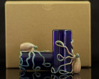 Octopus Shot Glasses Set of 2 Hand Blown in You Choose the Color, Made to Order