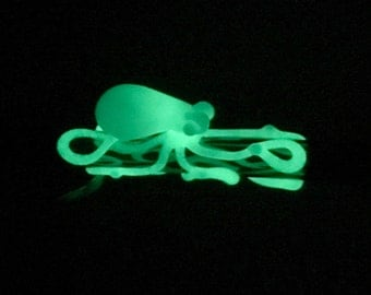 Glow in the Dark Octopus Glass Straw Hand Blown in Lake Green & Green Glow, Ready to Ship #482