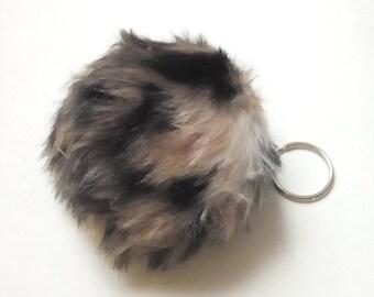 "Fur Ball KEY CHAIN, Bag Purse Charm Accessory, 2 1/2"" Faux Fur Ball, Ln189, Biker, Motorcycle, Key Ring, Fob, Key Organizer Holder,  by Lynn"