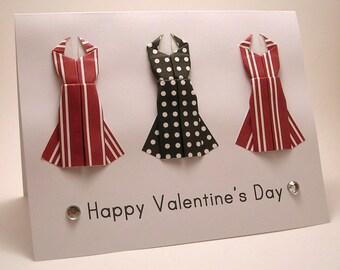 Mini Origami Dress Card (Valentine, red stripe black dots)