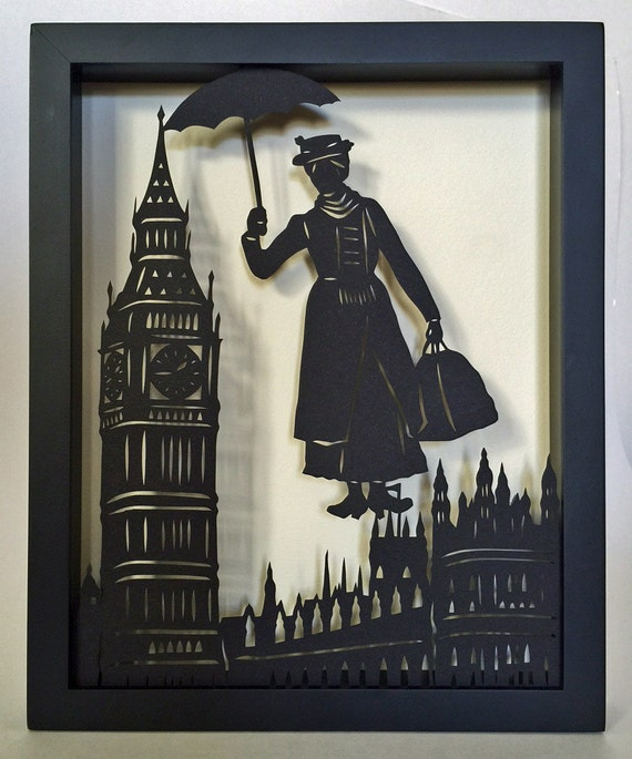 Sale 20% Off // MARY POPPINS Papercut in Shadow Box - Hand-Cut Silhouette, Framed // Coupon Code SALE20
