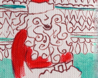 original art ACEO drawing Santa Claus Christmas