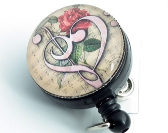 Music Retractable ID Badge - Music Bass Clef with Rose & Vintage Music Paper on Badge Reel - 249