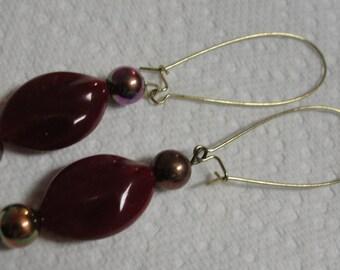 Maroon Bead Pierced Earrings