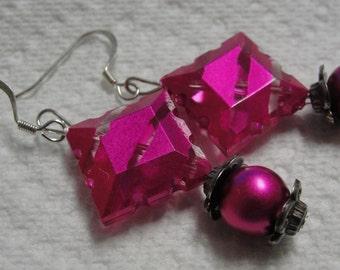 Sizzling Hot Pink Beaded Dangle Pierced Earrings