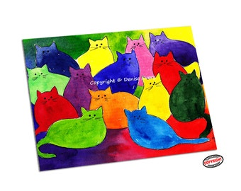Cat Art Print Colorful Cat Art Rainbow Cat ACEO Print Abstract ACEO Cat Art Print Cat Lover Cat Gift ACEO Art Cat Print by Denise Every