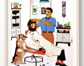 It Was Time for a Trim- Fine Art Print ,Unique gift for horror fans, Monsters, Humor, Dogs, Wolfman, Vintage, Barber Shop, Fine Art Print