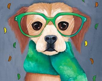 DOG Art Autumn Dog in a Scarf - Original Folk Art Portrait Painting