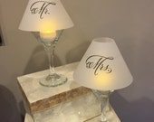 Wine Glass Luminary Shades Pair Mr. and Mrs.