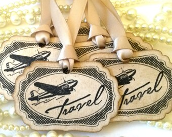 Travel Tags, Vintage Luggage Tags, Travel Quote, Quote about Travel, Pack Your Bags, Holiday Gift Tag, Wedding Favor Tags, Holiday Scrapbook