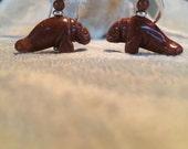 Manatee Carved Stone Earr...