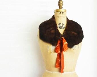 Mink Fur scarf with Velvet Ribbons