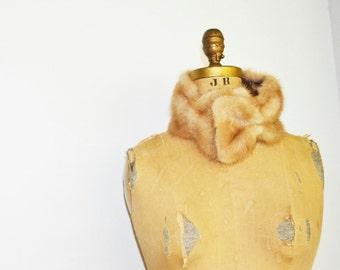 Pale mink cowl circle scarf mink fur headband