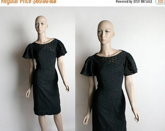 ON SALE Vintage 1950s Wiggle Dress - Black Eyelet Jerry Gilden Flutter Sleeve Hourglass Bombshell Party Dress - Small
