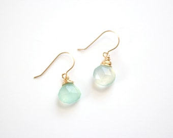 Wrapped Mint Chalcedony Briolette Earrings - Gold Filled or Sterling Silver