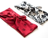 SALE Tie Up Headscarf // Red Oriental // Black Grey Subtle Tie Dye // Black and White Art Deco Floral