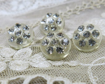 Vintage Rhinestone & Lucite Buttons ... Crystal Clear Rhinestone Button Lot