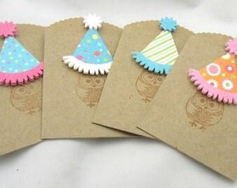 Birthday Owls Small Kraft Bags/Gift Card Holders - Set of 4 Holders