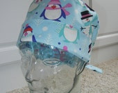 Tie Back Surgical Scrub Hat with Winter Penguins Snowman Blue