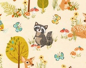 Animal Fabric, Deer fabric, Owl fabric, Forest Fellows fabric by Sea Urchin Studio - Forest Fellows Main in Nature, You Choose the Cut
